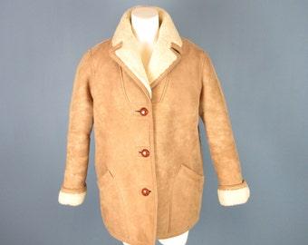 Vintage Womens Shearling Sheepskin Coat, Custom Made, Sz M