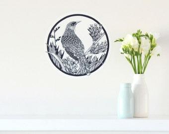 Tui dot wall decal – small | New Zealand bird home decor | kiwiana wall decal