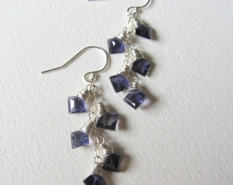 Faceted Blue Iolite Earrings with Sterling Silver - Faceted Princess Cut Natural Gemstones - Navy Blue Gems - Perfect Gift for Her Seattle