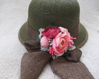 Straw Woman  summer  hat, army color, Colorful  floral sun hat for women, Spring hat For her, handmade flowers