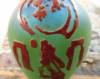 Blue green glass vase - Hare and Moon Vase - Sandblasted Hare andMoon Vase - Welsh Glass Vase - Glass Flower Vase - Sea Glass Inspired