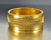 Antique Etruscan Gold Bracelet, Victorian Bracelet, Fleur de Lis Gold Gild Silver Bracelet, Wide Stacking Wedding Bracelet Bangle