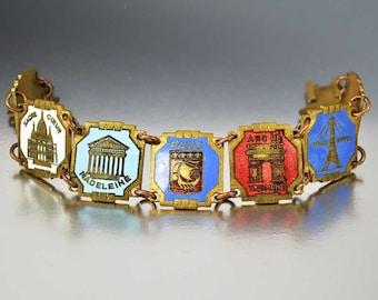 Vintage Paris Enamel Bracelet, French Country Souvenir Bracelet, Wide I Love Paris Art Deco Jewelry France, Eiffel Tower, Notre Dame