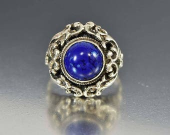 Antique Silver Lapis Lazuli Ring, Austro Hungarian Ring, Victorian Domed Statement Ring, Rustic Bohemian Ring, Ornate Ring