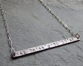 Custom latitude longitude sterling silver necklace, gps coordinates, favorite place, special place, create your own, meaningful, personalize