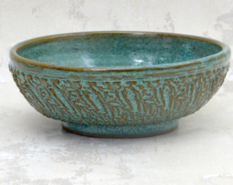 Small Serving Bowl in Speckled Aqua with Deep Texture