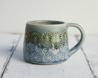 porcelain coffee cup olive and blue