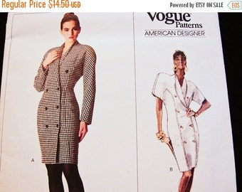 SALE 25% Off Vogue Patterns Calvin Klein Misses' Dress Size 12 UNCUT Vogue Designer Pattern Double Breasted Dress, Shawl Collar