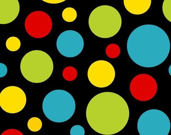 204955 black colorful dot fabric by Henry Glass