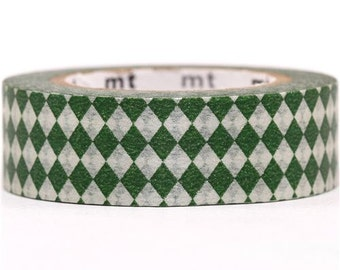 193836 green and silver mt Washi Masking Tape deco tape with diamonds
