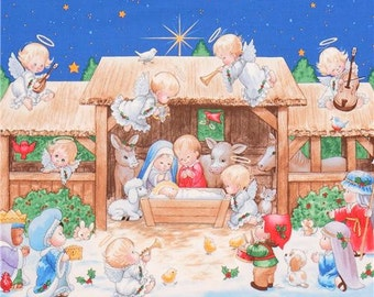 212956 red with children Nativity Scene This Little King fabric Elizabeth's Studio