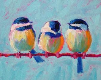 Chickadee Trio - Bird Art - Paper - Canvas - Wood Block - Giclee Print