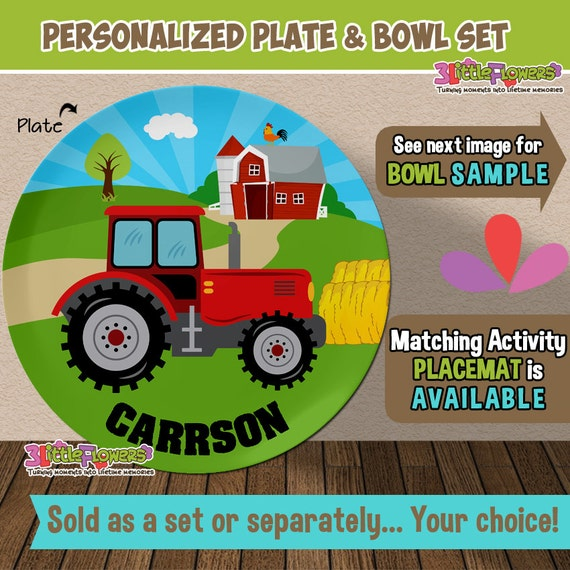 Il_570xn  sc 1 st  Catch My Party & Tractor Plate and Bowl Set - Personalized Plastic Children Plate ...