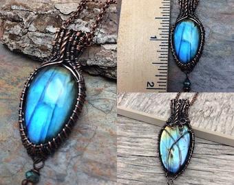 Labrodorite Wire Wrap Pendant Necklace, Free Shipping, Christmas Gift, Ready To Ship,  Labradorite Stone