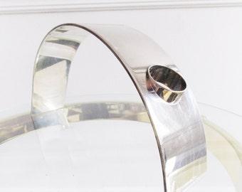 Dutch Modernist Silver bottle holder/ Monarch curved silver wine bottle holder from Holland/ Holiday decor