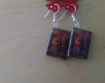 Mini Beauty and the Beast Book Earrings - Book Jewelry - Handmade Book Earrings - Mini Book Jewelry - Handmade Mini Book Earrings