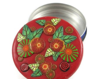 "Trinket Box Pill Box Treasure Box Engagement Ring Box Red Round Handmade Polymer Clay Tin Interior Gift for Her Floral Cane Work 2 3/8"" Wide"