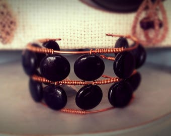 Black Onyx and copper cuff wire wrap bracelet