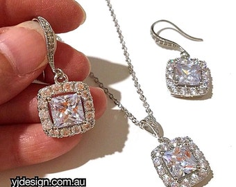 Square Bridal Jewelry Set, Princess Cut Earrings, Geometric Wedding Necklace, Cz Wedding Jewelry, Cubic Zirconia Bridal Earrings, DIAMANT