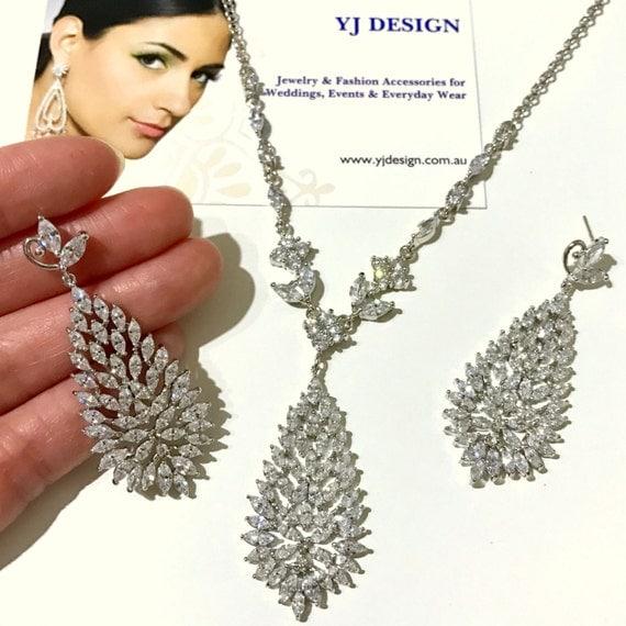 Marquise Bridal Jewelry Set, Leaf Bridal Earrings, Vine Bridal Necklace, Leaves Earrings, Woodland Wedding, Cz Wedding Jewelry, TROPICA