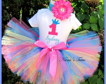 Birthday  Number, Princess Crown, Multi Color,  Party Outfit in Sizes 1yr thru 4yrs