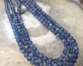 50% Mega Sale 7.5mm Blue Kyanite Round Gemstone Beads - All Natural