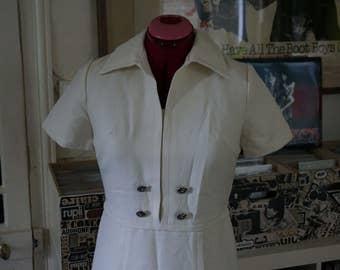 vintage 60s 70s off white cream dress stewardess mod scooter twiggy 1960s 1970s