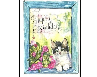 Cute Kitten Birthday Card with flowers