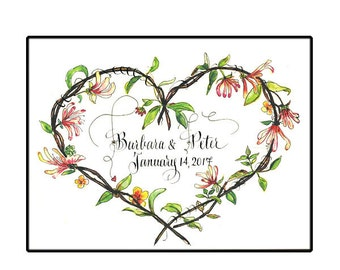 Personalized Wedding Card, 5x7 Framable Wedding Gift, Custom calligraphy
