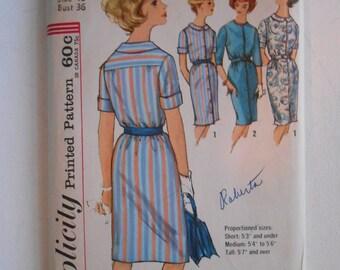 Vintage 60s Misses Slim Straight Shirtwaist Dress Pattern Simplicity 4937 Size 16 Bust 36 UNCUT