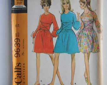 Vintage 60s Mod Gathered Dress and Slip Pattern McCalls 9639 Size 12 Bust 34 UNCUT