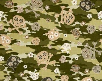 Cool Girl Camo Skulls - Kanvas / Benartex cotton woven fabric by the yard