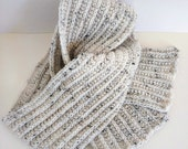 Oatmeal extra long scarf for men or women in wool - acrylic yarn, can be custom made in many colours, hand crochet, unisex