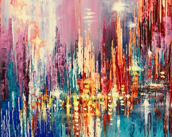 "Original cityscape painting TOWER LIGHTS palette knife urban landscape city art - 12"" x 16"" - by Tatiana Iliina - Free Shipping"