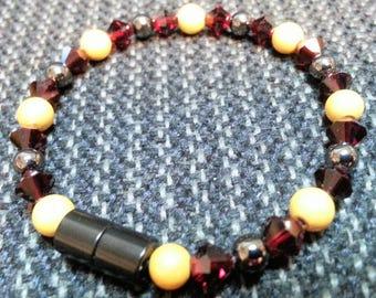 Garnet and Gold, Florida State, Magnetic Hematite Bracelet