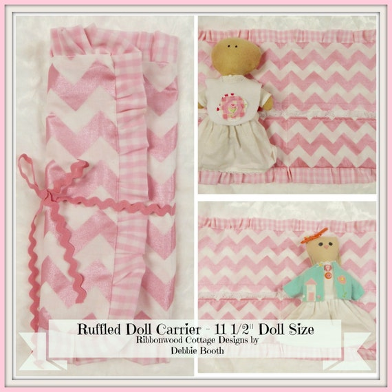 "Sewing Pattern  Ruffled Doll Carrier - 11 1/2"" Doll Size PDF sewing pattern"