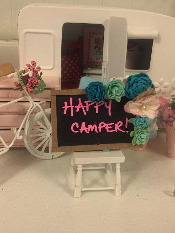 """Happy Camper Chalkboard Flower Embellished Sign 2""""x3"""""""