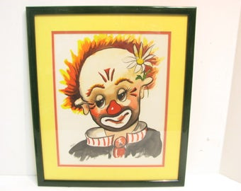 Vintage Original Thayer Clown Watercolor Painting in Frame