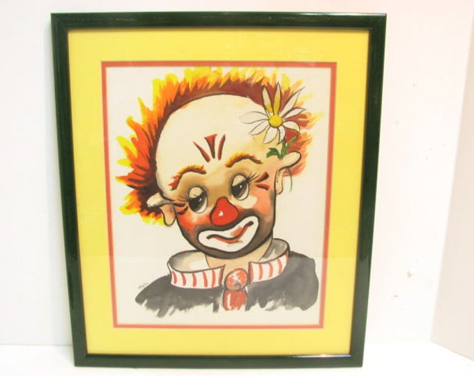 Original Vintage Thayer Clown Watercolor Painting in Frame