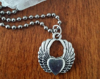 American Pewter Angel Wing Heart Necklace