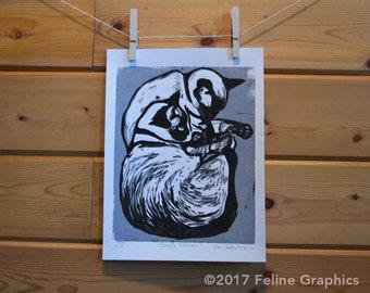 Sleepy Siamese Linocut Print, Cat Print, Home Decor, Linocut, Cat Art, Siamese Cat, Hand Printed, Cat Lady Gift
