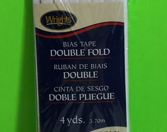 Wrights PC201 White Bias Tape Double Fold 4 Yds, 3.70m