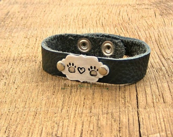 Paws and Heart Leather Bracelet dog cat pet animal lover handstamped adjustable brushed silver puppy kitten kitty textured black