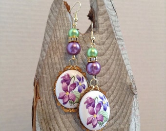 Violet assemblage earrings