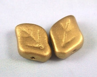 New Czech Glass leaves, 12x9MM, Metallic Gold, 15 pcs.