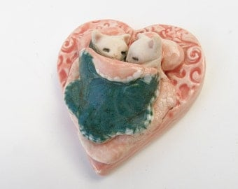 Kitty Cuddles Pink Heart Bed Ceramic Art Sculpture Figurine Collectible