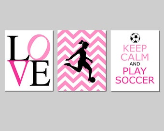 Soccer Art Soccer Decor for Girl Bedroom Decor Soccer Set of 3 - Love, Chevron Soccer Player, Keep Calm and Play Soccer - CHOOSE YOUR COLORS