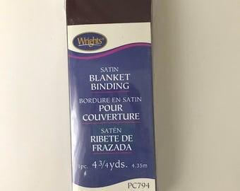 Wrights Satin Blanket Binding - Brown - Dark Brown - Seal Brown - 4.75 Yards - Binding for Sewing - Brand New - NIP - Ships Quick