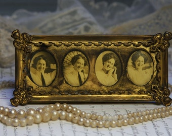 Ornate BRASS FRAME- Victorian Diminutive Easel Back with 4 Oval Matted PHOTOS- Small Picture Frame- Ornate