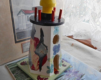 Wood LIGHTHOUSE with PRESSED FLOWERS Organic Handmade Art, Red Poinsettia Crepe Myrtle Blue Pansies Salvia & Hydrangea, Ocean Beach Decor 2
